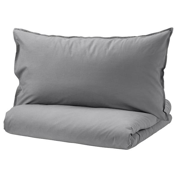 ÄNGSLILJA غطاء لحاف و ٢ غطاء مخدة, رمادي, 240x220/50x80 سم