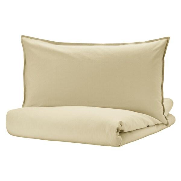 ÄNGSLILJA غطاء لحاف و غطاء مخدة, بيج فاتح-أخضر, 150x200/50x80 سم