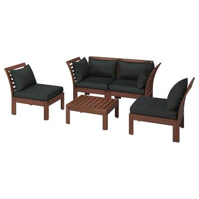 ÄPPLARÖ 4-seat conversation set, outdoor, brown stained/Hållö black