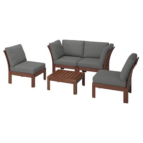 ÄPPLARÖ 4-seat conversation set, outdoor brown stained/Frösön/Duvholmen dark grey