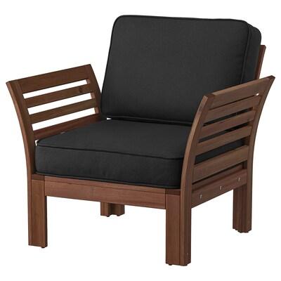 ÄPPLARÖ كرسي بذراعين، خارجي, صباغ بني/Järpön/Duvholmen فحمي