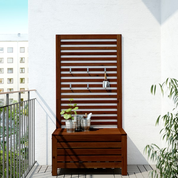 ÄPPLARÖ bench with wall panel, outdoor brown stained 80 cm 44 cm 158 cm