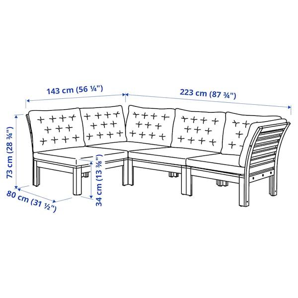ÄPPLARÖ وحدة كنب زاوية 3 مقاعد، خارجي, صباغ بني/Kuddarna بيج, 143/223x80x80 سم
