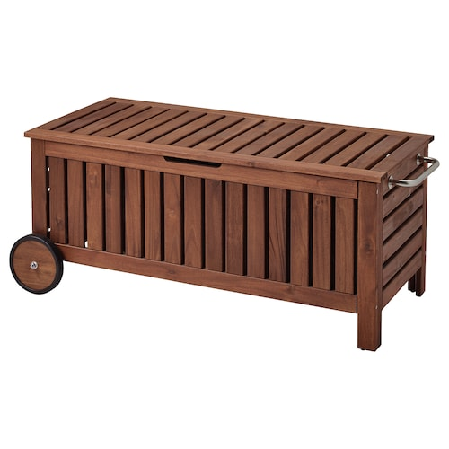 ÄPPLARÖ storage bench, outdoor brown stained 128 cm 57 cm 55 cm