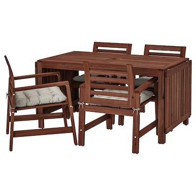 ÄPPLARÖ طاولة+4كراسي بمساند ذراعين،خارجية, صباغ بني/Kuddarna رمادي