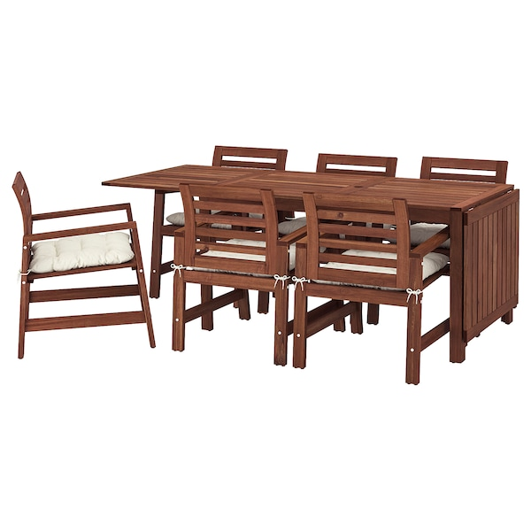 ÄPPLARÖ table+6 chairs w armrests, outdoor brown stained/Kuddarna beige