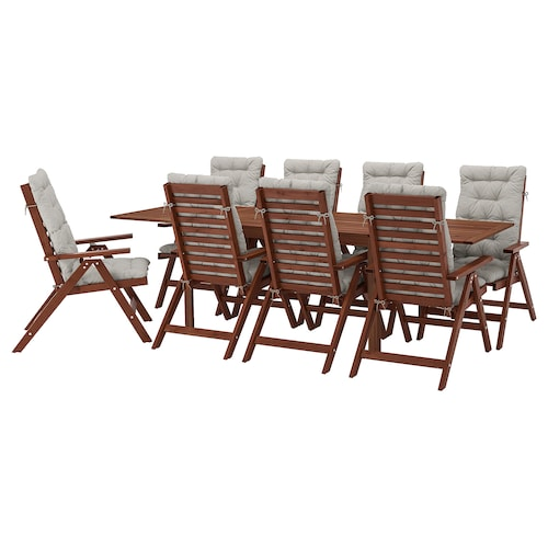 ÄPPLARÖ table+8 reclining chairs, outdoor brown stained/Kuddarna grey