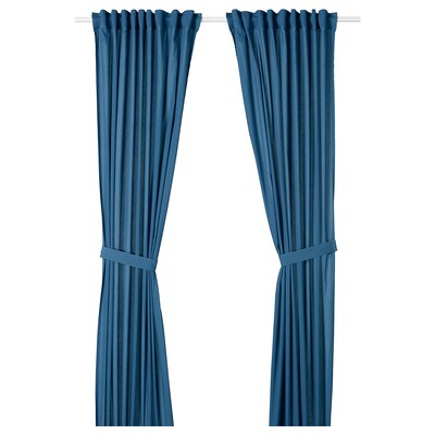 AMILDE Curtains with tie-backs, 1 pair, blue, 145x300 cm