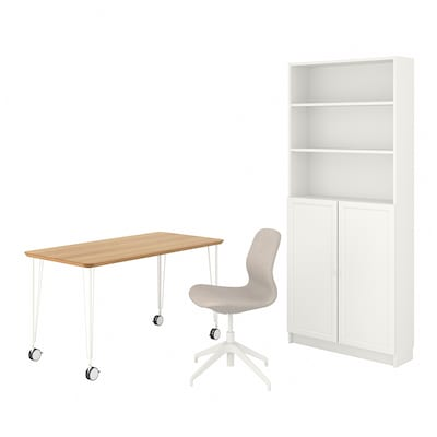 ANFALLARE/LÅNGFJÄLL / BILLY/OXBERG Desk and storage combination, and swivel chair bamboo/beige white