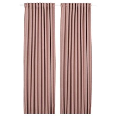 ANNAKAJSA Room darkening curtains, 1 pair, pink, 145x300 cm