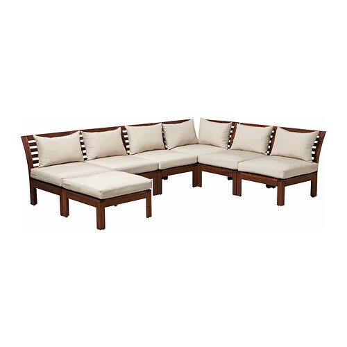 Pplar h ll corner sofa 3 3 w stool outdoor brown for Outdoor furniture jeddah