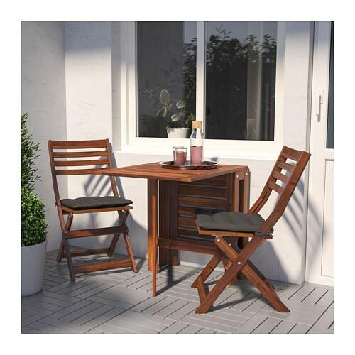 ÄPPLARÖ طاولة وكرسيان قابلان للطي، للأماكن الخارجية IKEA ألواح قابلة للطي بعدد 2؛ تسمح لك بتعديل حجم الطاولة وفقًا لحاجتك.