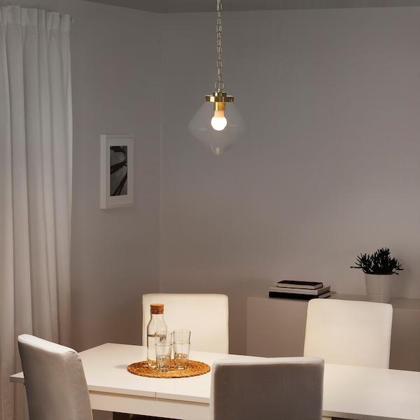 ÅTERSKEN Pendant lamp, clear glass/diamond-shaped