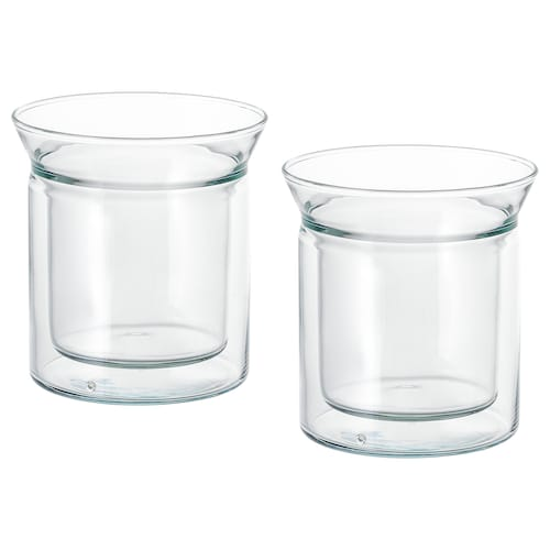 AVRUNDAD mug double-walled/clear glass 12 cm 15 cl 2 pack