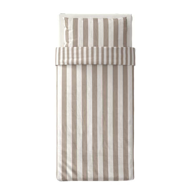 BÄRALM غطاء لحاف و غطاء مخدة, أبيض بيج/شريط, 150x200/50x80 سم