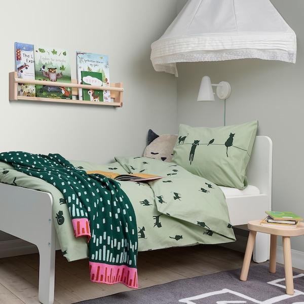 BARNDRÖM غطاء لحاف و غطاء مخدة, نقش القط/أخضر, 150x200/50x80 سم