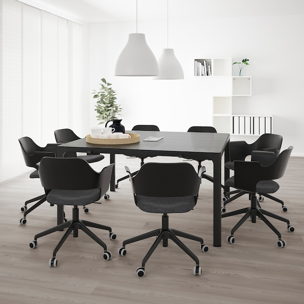 BEKANT Conference table, black stained ash veneer/black, 140x140 cm