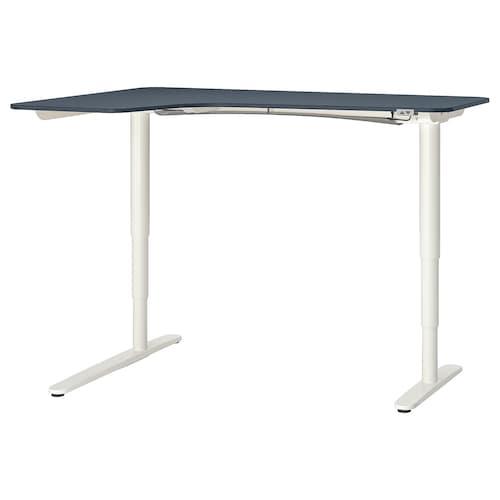 BEKANT corner desk left sit/stand linoleum blue/white 160 cm 110 cm 65 cm 125 cm 70 kg