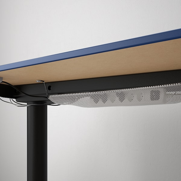 BEKANT Corner desk right sit/stand, linoleum blue/black, 160x110 cm
