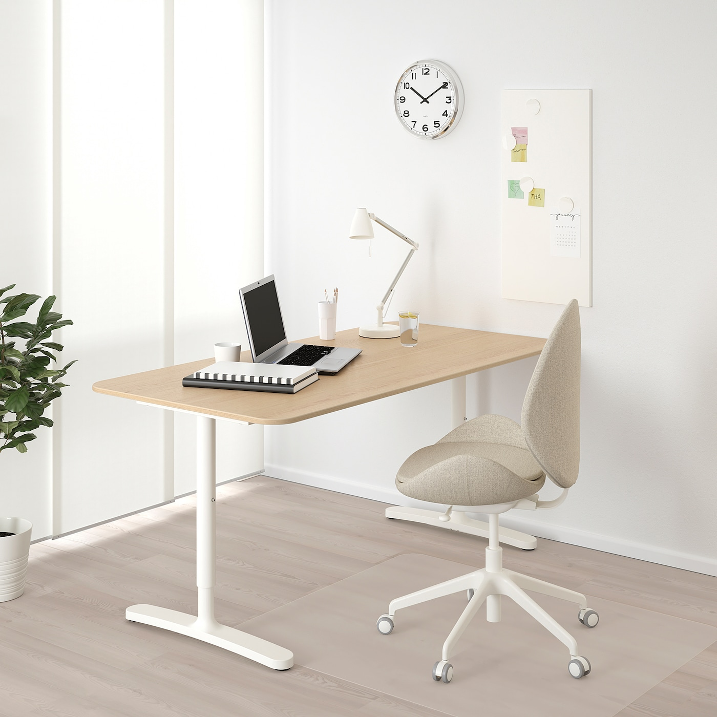 BEKANT Desk, white stained oak veneer/white, 160x80 cm