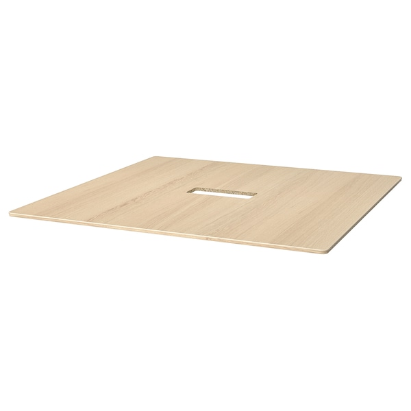 BEKANT سطح طاولة, قشرة سنديان مصبوغ أبيض, 140x140 سم