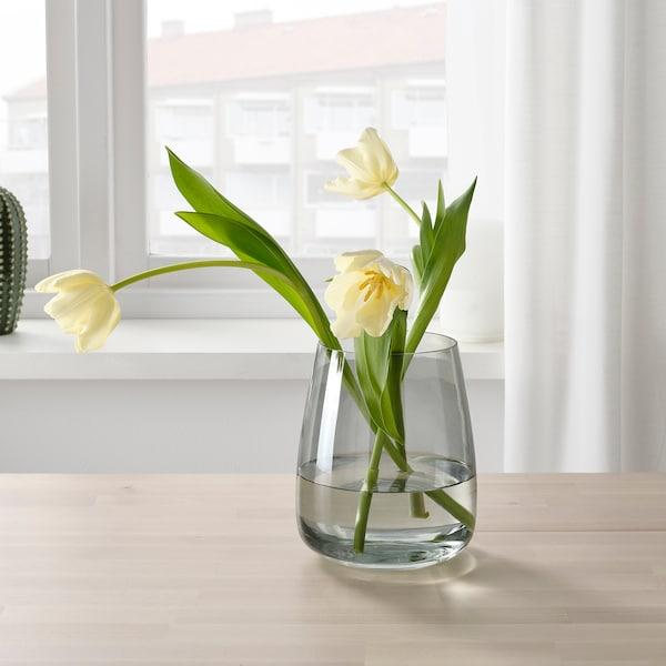 BERÄKNA Vase, light grey, 18 cm