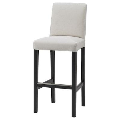BERGMUND Cover for bar stool with backrest, Kolboda beige/dark grey