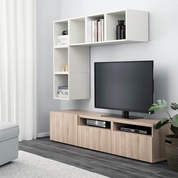 BESTÅ / EKET cabinet combination for TV white/grey stained walnut effect 70 cm 180 cm 40 cm 170 cm
