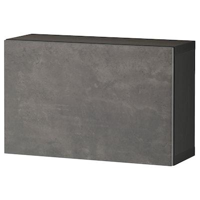 BESTÅ Shelf unit with door, black-brown/Kallviken dark grey, 60x22x38 cm