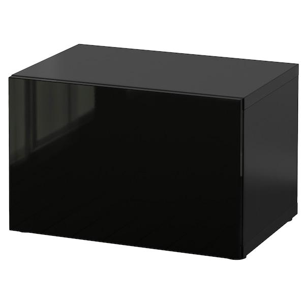 BESTÅ Shelf unit with door, black-brown/Selsviken high-gloss/black, 60x42x38 cm