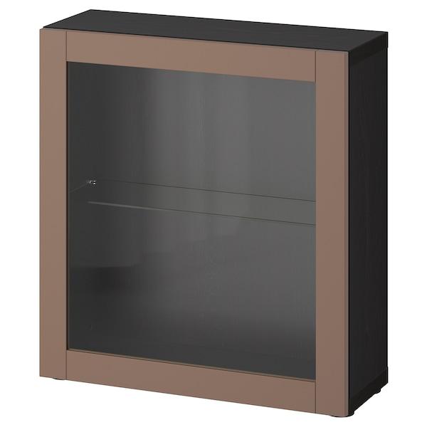 BESTÅ Shelf unit with door, black-brown/Sindvik light grey-brown, 60x22x64 cm