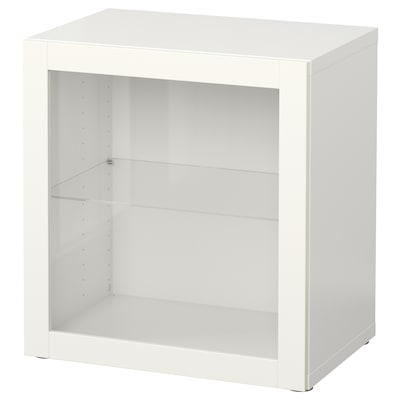 BESTÅ Shelf unit with glass door, white/Sindvik white clear glass, 60x42x64 cm