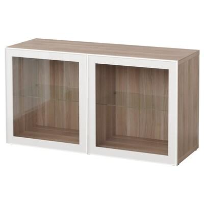 BESTÅ Shelf unit with glass doors, grey stained walnut effect/Glassvik white/clear glass, 120x42x64 cm