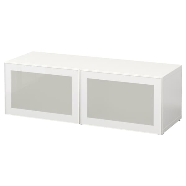 BESTÅ Shelf unit with glass doors, white/Glassvik white/frosted glass, 120x42x38 cm