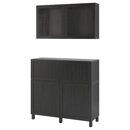 BESTÅ storage combination w doors/drawers black-brown/Hanviken/Stubbarp black-brown clear glass 120 cm 42 cm 240 cm