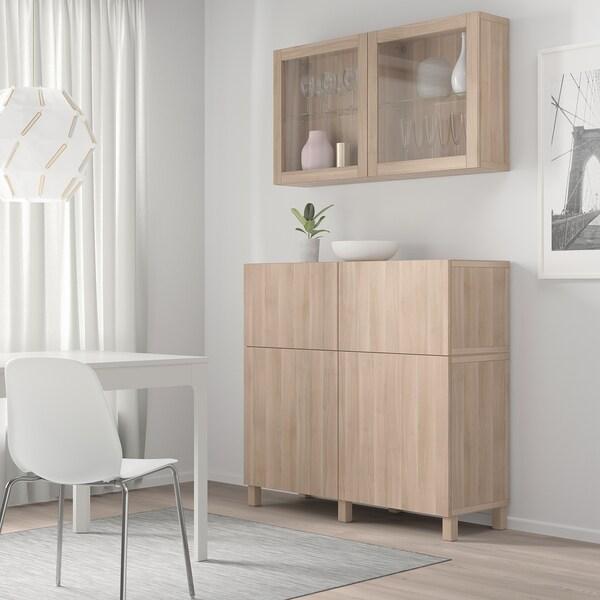 BESTÅ storage combination w doors/drawers grey stained walnut effect/Lappviken/Stubbarp grey stained walnut eff clear glass 120 cm 42 cm 240 cm