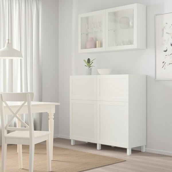 BESTÅ Storage combination w doors/drawers, white/Hanviken/Stubbarp white clear glass, 120x42x213 cm