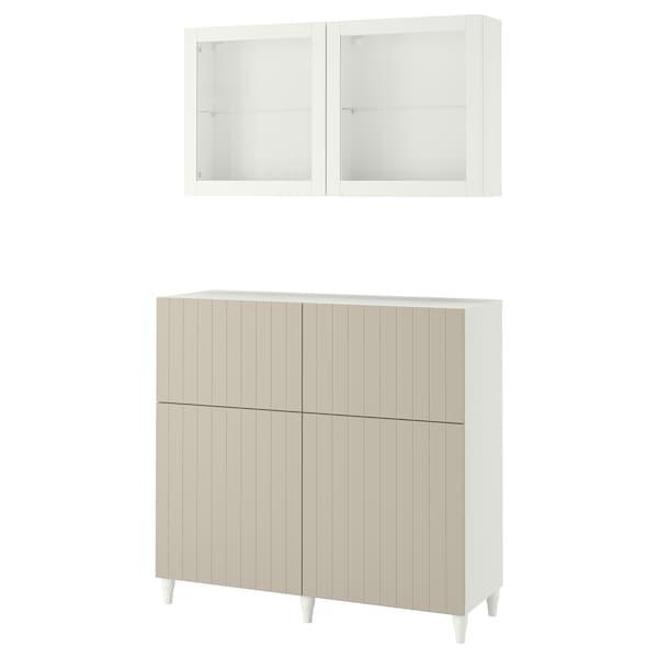 BESTÅ Storage combination w doors/drawers, white Sutterviken/Kabbarp/grey-beige clear glass, 120x42x240 cm