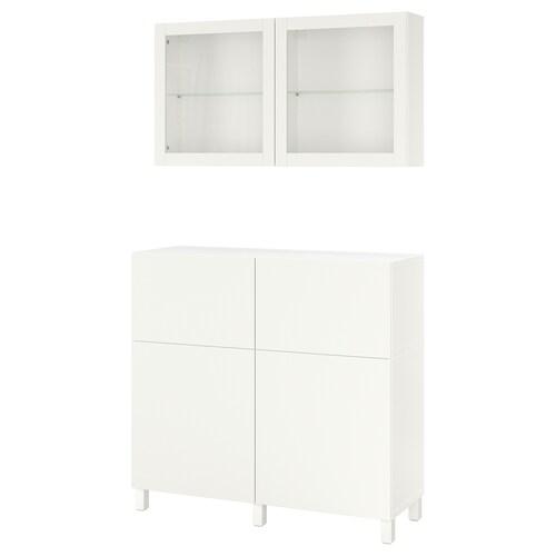 BESTÅ storage combination w doors/drawers white/Lappviken/Stubbarp white clear glass 120 cm 42 cm 240 cm