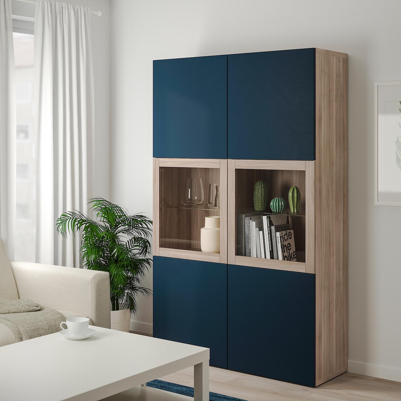 Besta Storage Combination W Glass Doors Grey Stained Walnut Effect Notviken Blue Clear Glass Ikea