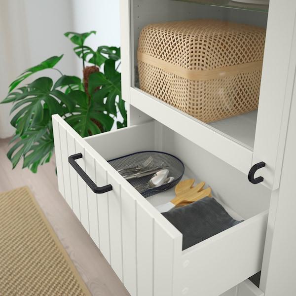 BESTÅ Storage combination w glass doors, white/Sutterviken/Kabbarp white clear glass, 60x42x202 cm