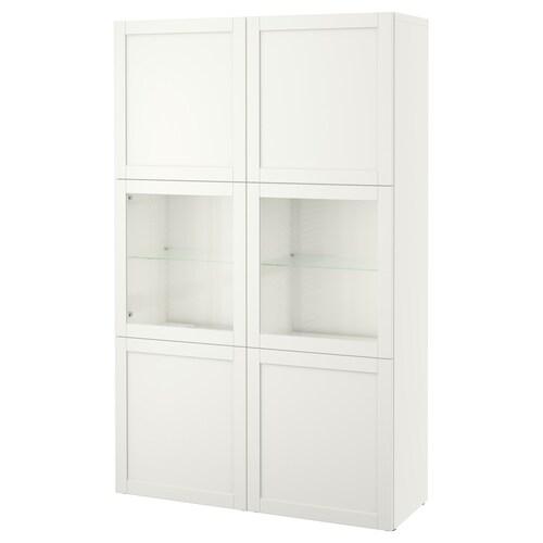 BESTÅ storage combination w glass doors Hanviken/Sindvik white clear glass 120 cm 40 cm 192 cm