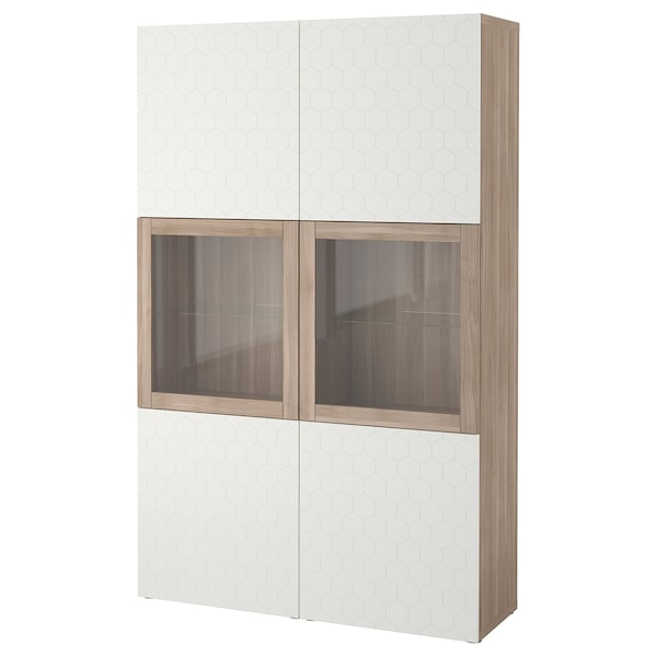 BESTÅ storage combination w glass doors grey stained walnut effect/Vassviken white clear glass 120 cm 40 cm 192 cm