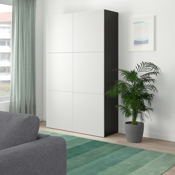 Storage Combination With Doors Bestå Black Brown Laxviken White