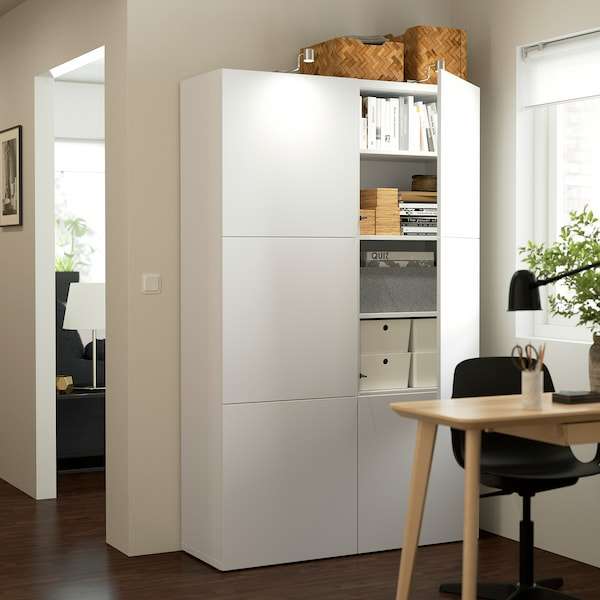 BESTÅ Storage combination with doors, white/Lappviken white, 120x42x193 cm