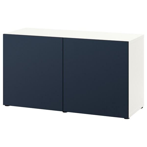 BESTÅ Storage combination with doors, white/Notviken blue, 120x42x65 cm