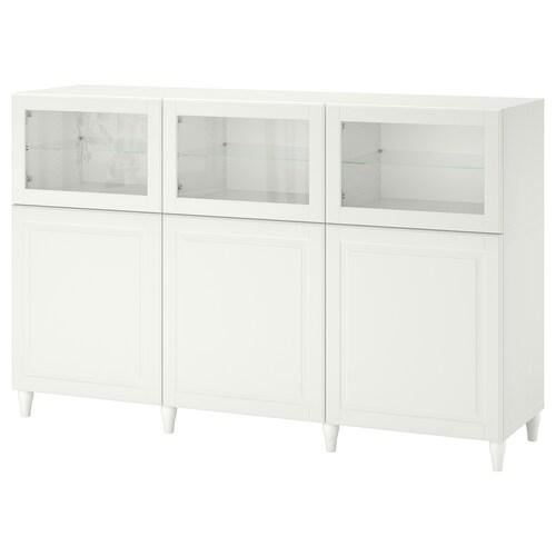 BESTÅ storage combination with doors white/Smeviken/Kabbarp white clear glass 180 cm 42 cm 112 cm