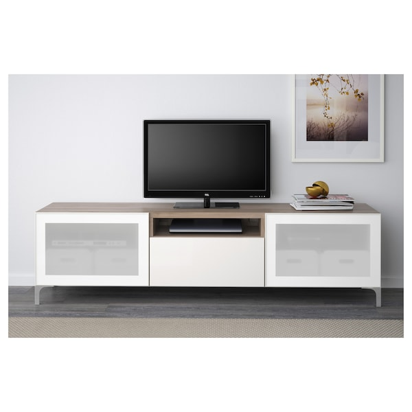 BESTÅ TV bench, grey stained walnut effect/Selsviken/Nannarp high-gloss/white frosted glass, 180x42x48 cm