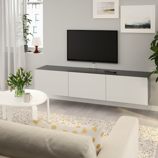 Tv Meubel Hangend.Besta Tv Bench With Doors Black Brown Lappviken Light Grey Ikea