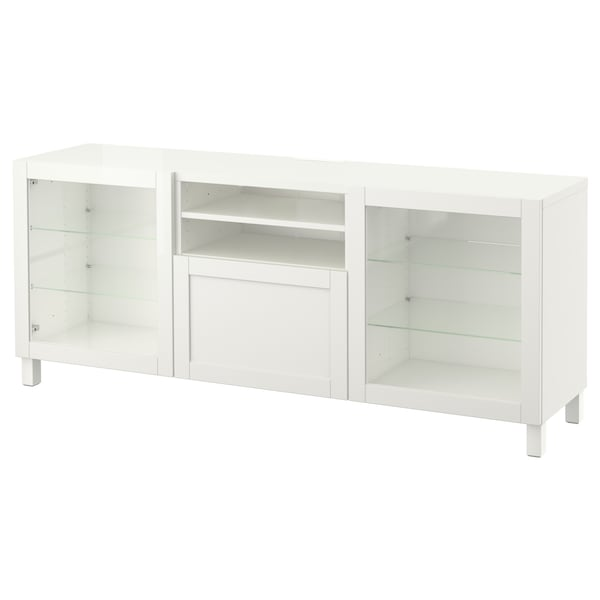 BESTÅ TV bench with drawers, white/Hanviken/Stubbarp white clear glass, 180x42x74 cm